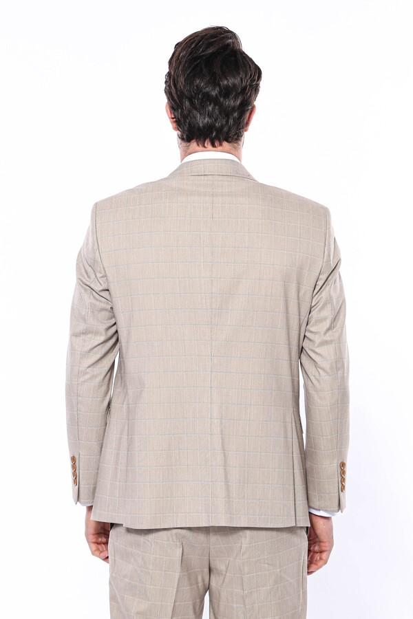 4 Drop Klasik Kesim Ekose Bej Takım Elbise   Wessi