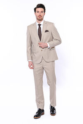 4 Drop Klasik Kesim Ekose Bej Takım Elbise | Wessi - Thumbnail
