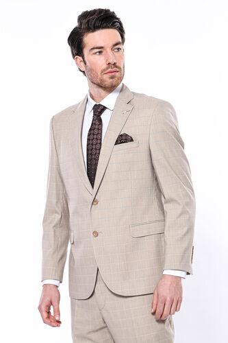 4 Drop Klasik Kesim Ekose Bej Takım Elbise | Wessi