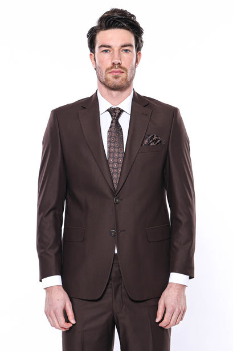 4 Drop Klasik Kesim Kahverengi Takım Elbise | Wessi