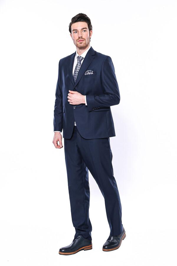 Wessi Erkek Lacivert Klasik Kesim Çift Düğme Takım Elbise