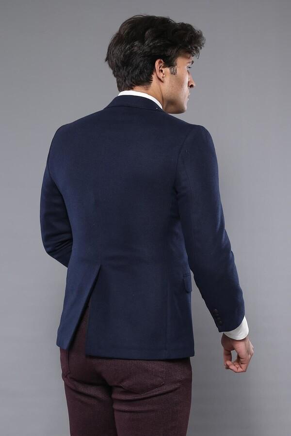 4 Drop Navy Blue Wool Jacket | Wessi