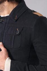 Apoletli Yıkamalı Siyah Kaban - Thumbnail