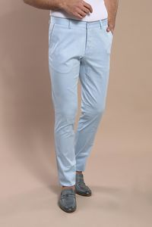 Arka Cep Kapaklı Mavi Pamuk Pantolon | Wessi - Thumbnail