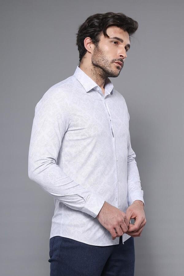 Desenli Beyaz Uzun Kollu Gömlek | Wessi
