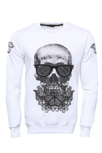 Baskılı Beyaz Bisiklet Yaka Sweatshirt