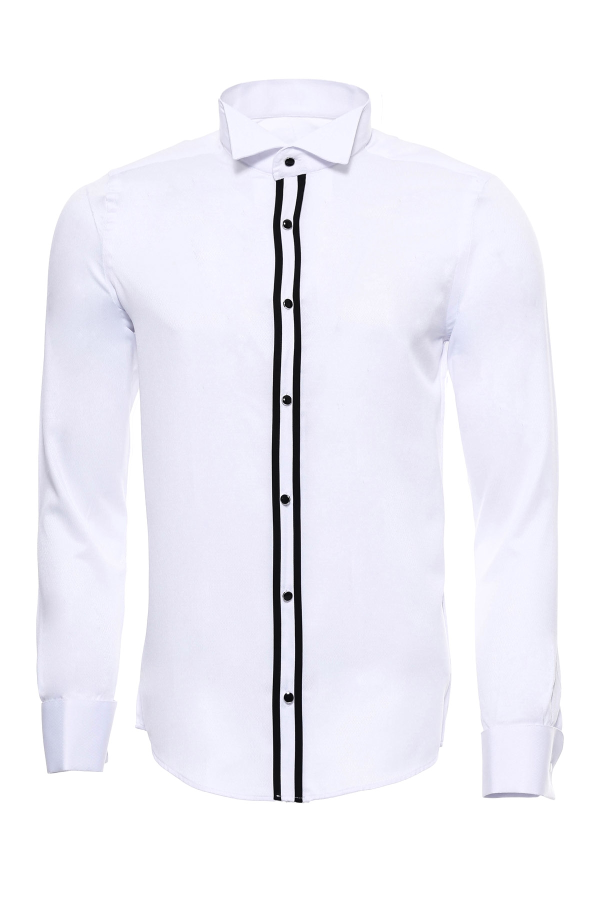 Beyaz Ata Yaka Damatlık Gömlek