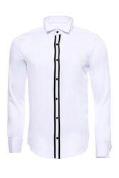 Beyaz Ata Yaka Damatlık Gömlek - Thumbnail