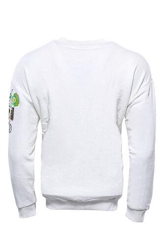 Beyaz Baskı Detaylı Bisiklet Yaka Sweatshirt
