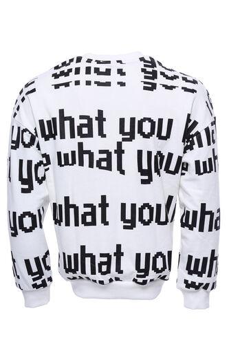Beyaz Baskılı Bisiklet Yaka Sweatshirt