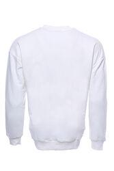Beyaz Baskılı Desenli Bisiklet Yaka Sweatshirt - Thumbnail