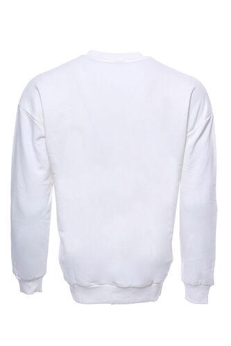 Beyaz Baskılı Desenli Bisiklet Yaka Sweatshirt