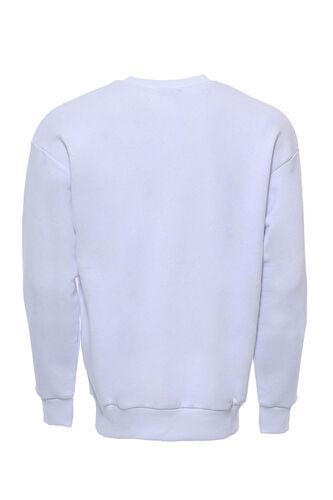 Beyaz Baskılı Sweatshirt Bisiklet Yaka