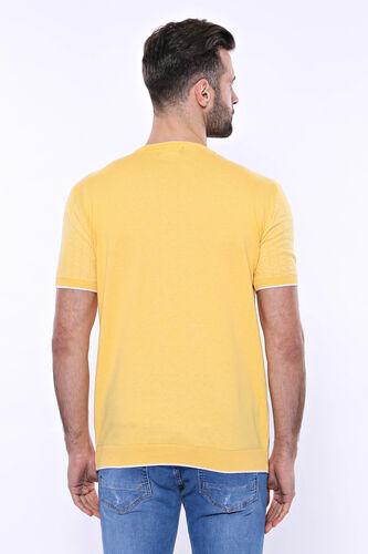 Bisiklet Yaka Kenarları Desenli Hardal Örme T-shirt | Wessi