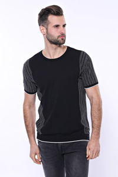 Bisiklet Yaka Kenarları Desenli Siyah Örme T-shirt | Wessi - Thumbnail