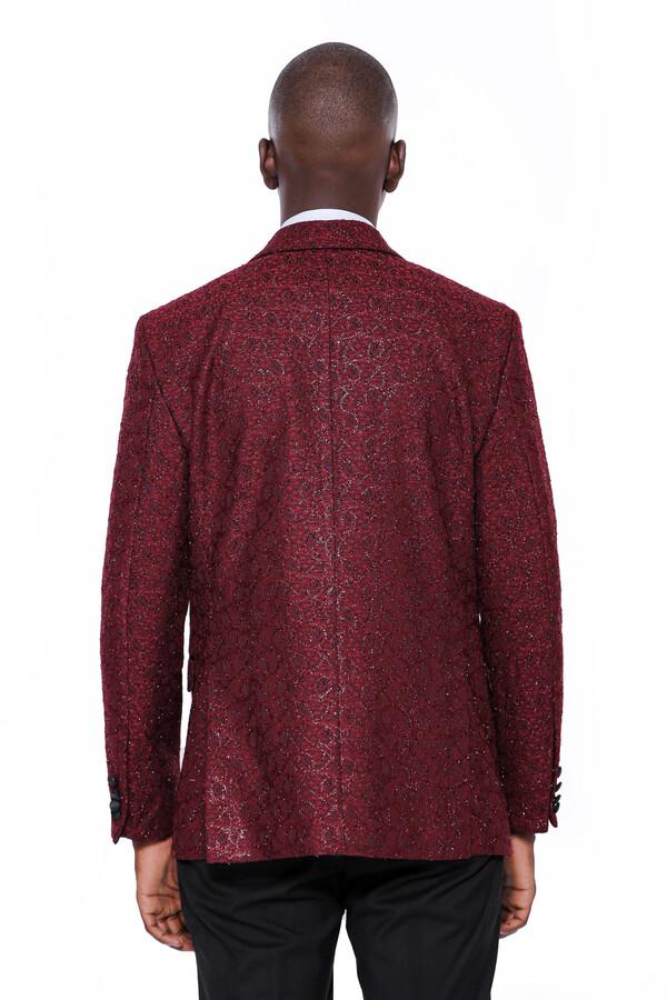 Işıltı Desenli Bordo Damatlık Ceket | Wessi