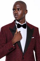 Işıltı Desenli Bordo Damatlık Ceket | Wessi - Thumbnail