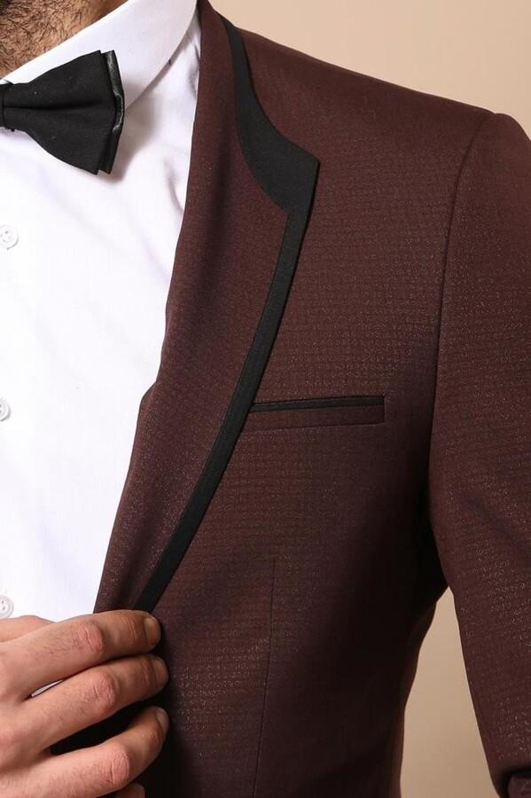 Ceket Desenli Bordo Damatlık | Wessi