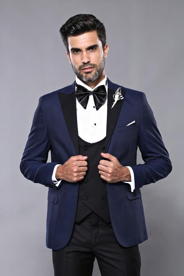 Ceket Desenli Lacivert Damatlık Takım Elbise | Wessi