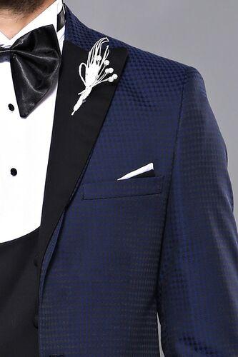 Wessi Erkek Ceket Desenli Lacivert Damatlık Slim Fit Takım Elbise