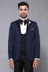 Ceket Desenli Lacivert Damatlık Takım Elbise | Wessi - Thumbnail