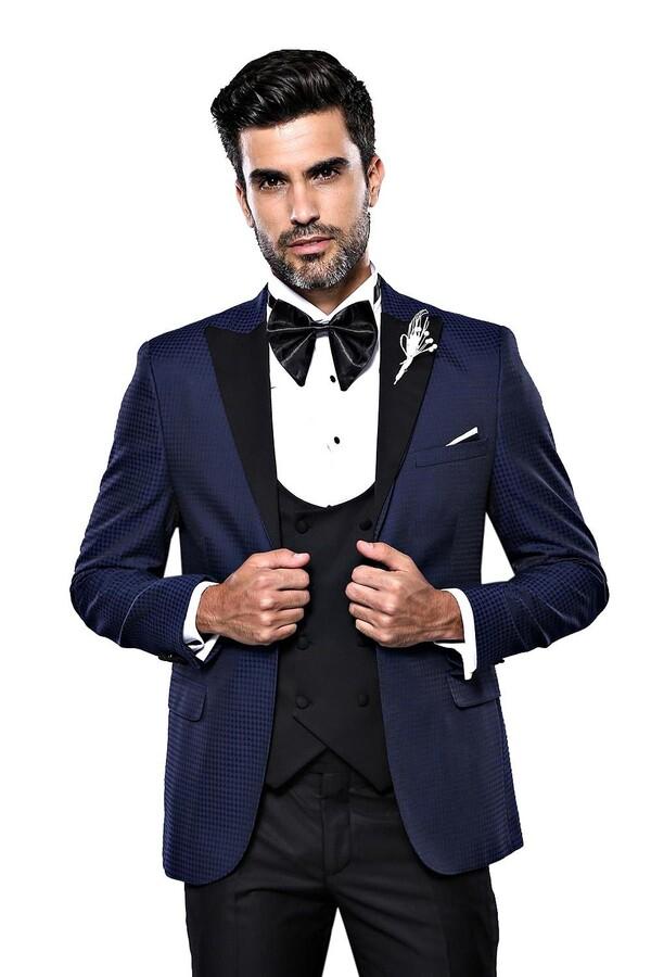Ceket Desenli Lacivert Damatlık Takım Elbise   Wessi