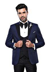 Wessi Erkek Ceket Desenli Lacivert Damatlık Slim Fit Takım Elbise - Thumbnail