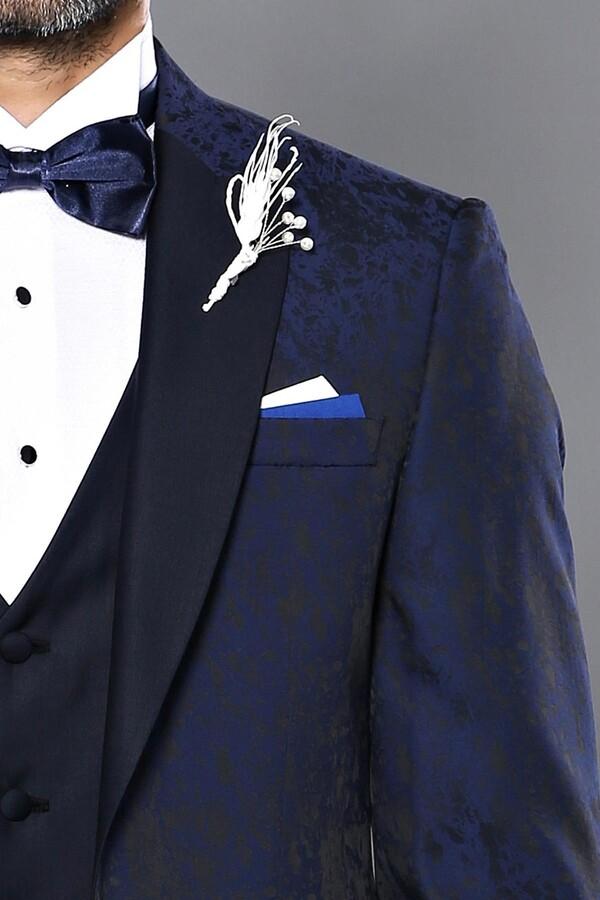 Ceket Desenli Yelekli Lacivert Damatlık Takım Elbise | Wessi