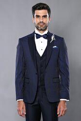 Ceket Desenli Yelekli Lacivert Damatlık Takım Elbise | Wessi - Thumbnail