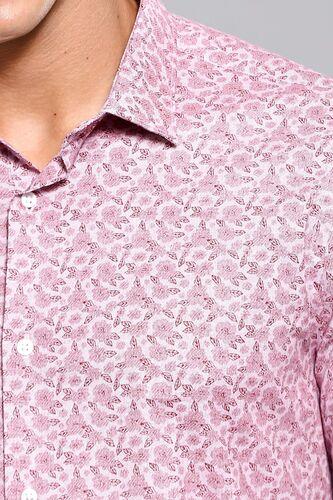Çiçek Desenli Bordo Uzun Kollu Gömlek | Wessi