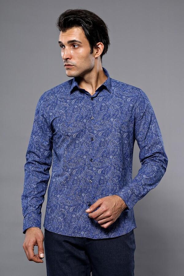 Kendinden Desenli Mavi Uzun Kollu Gömlek | Wessi