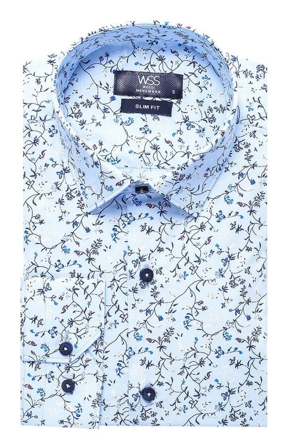 Çiçek Desenli Mavi Slimfit Gömlek