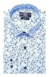 Çiçek Desenli Mavi Slimfit Gömlek - Thumbnail