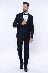 Çıkma Yaka Koyu Lacivert Damatlık Takım Elbise | Wessi - Thumbnail
