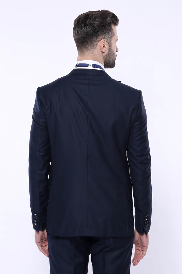 Çıkma Yaka Koyu Lacivert Damatlık Takım Elbise   Wessi