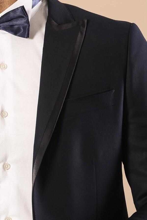 Yaka Saten Şeritli Lacivert Damatlık Takım Elbise | Wessi