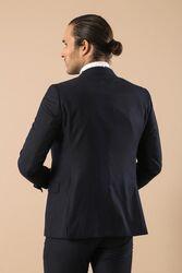 Yaka Saten Şeritli Lacivert Damatlık Takım Elbise | Wessi - Thumbnail