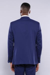 Çıkma Yaka Yelekli Açık Lacivert Damatlık Takım Elbise | Wessi - Thumbnail
