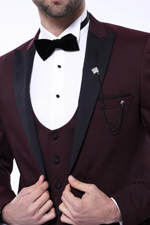 Çıkma Yaka Yelekli Bordo Damatlık Takım Elbise | Wessi