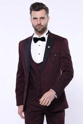 Çıkma Yaka Yelekli Bordo Damatlık Takım Elbise | Wessi - Thumbnail