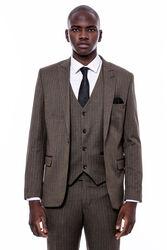 Çizgi Desen Yelekli Slim Fit Kahverengi Takım Elbise - Thumbnail