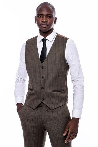 Çizgi Desen Yelekli Slim Fit Kahverengi Takım Elbise