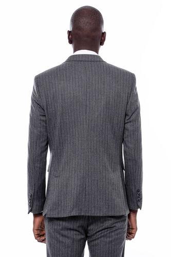 Çizgi Desen Yelekli Slim Fit Lacivert Takım Elbise