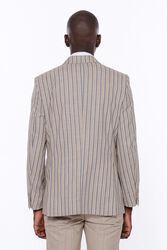 Çizgili Ceket Pantolon Düz Bej Takım Elbise - Thumbnail