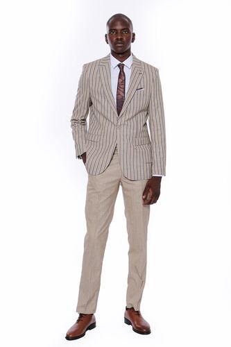 Çizgili Ceket Pantolon Düz Bej Takım Elbise