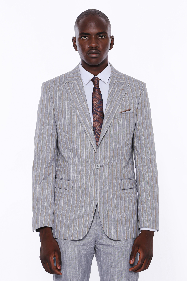 Çizgili Ceket Pantolon Düz Gri Takım Elbise