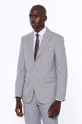 Çizgili Ceket Pantolon Düz Gri Takım Elbise - Thumbnail