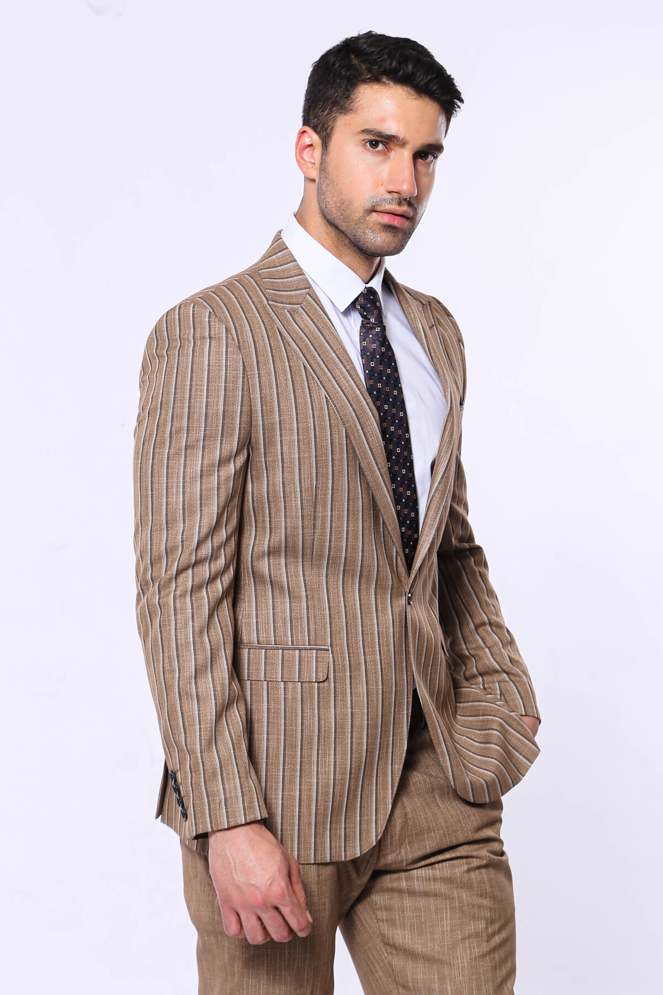 Çizgili Ceket Pantolon Düz Kahverengi Takım Elbise