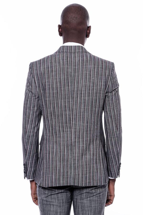 Çizgili Ceket Pantolon Düz Siyah Takım Elbise