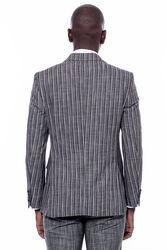 Çizgili Ceket Pantolon Düz Siyah Takım Elbise - Thumbnail